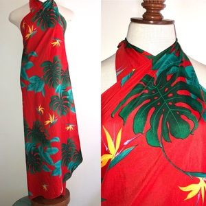 Vtg Hawaiian Dress Sarong Floral Halter Aloha